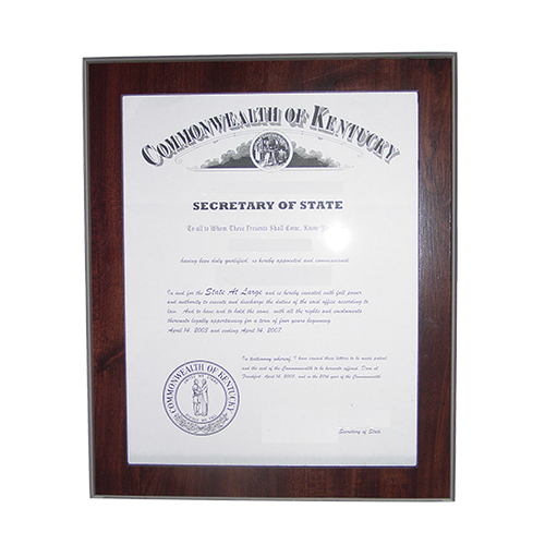 Arizona Notary Commission Certificate Frame
